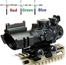 UUQ Prism 4x32 Red/Green/Blue Triple Illuminated Rapid Range Reticle Rifle Scope W/ Top Fiber Optic Sight and Weaver Slots (12 Month Warranty)