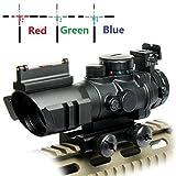UUQ Prism 4x32 Red/Green/Blue Triple Illuminated Rapid Range Reticle Rifle Scope W/ Top
