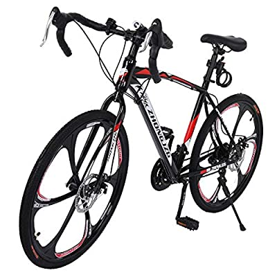 Qazqa 26 Inch Road Bike Bicycles, Shimanos 700C Wheels 21-Speed Mechanical Disc Brake, Aluminum Full Suspension Lightweight High Carbon Steel Frame Racing Cycle for Men Women Teens Adults