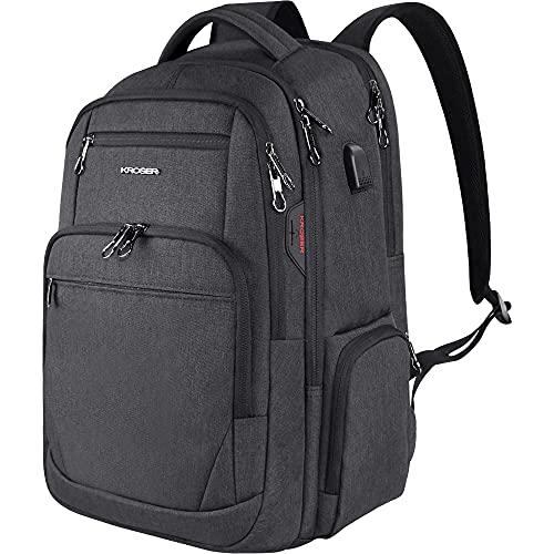 KROSER Sac à Dos pour Ordinateur Portable 17.3  Grand Sac Imperméable avec Interface Casque Poche RFID pour Travail   Affaires   Université   Hommes   Femmes Laptop Backpack