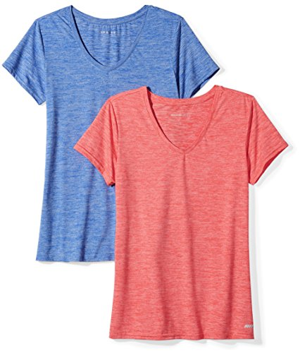 Amazon Essentials 2-Pack Tech Stretch Short-Sleeve V-Neck T-Shirt Athletic-Shirts, Fiery Coral Cobalt Heather, US XL (EU 2XL)