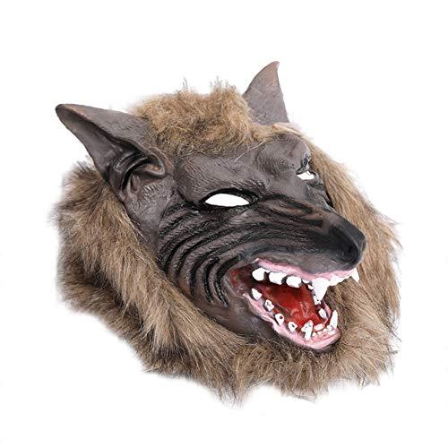 Demarkt Sombrero con Forma de Cabeza de Lobo Carnaval Halloween Disfraces Juguetes Decoraciones Prop Y Cosplay Látex 28 * 26CM 1PCS Negro