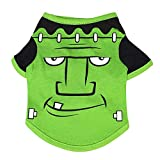 Winthai Ropa de Mascota Linda Perro Gato Camiseta Chaleco Manga Halloween Fiesta Trajes Suministros para 3-4kg Pomerania maltesa Shih Tzu francés Bulldog Verde