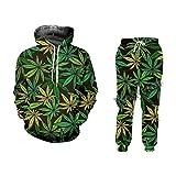Casual Streetwear Sudaderas y Pantalones Verde Cáñamo Hoja Weed 3D 2 Piezas Conjunto Sudadera con Capucha Jerséis Unisex Chándal, Sudadera con capucha y pantalones, 5X-Large