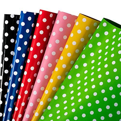 RUSPEPA Geschenkpapierpapier - Buntes Punktdesign Für Geburtstag, Feiertag, Babyparty - 6 Gefaltete Blätter - 76 cm X 1 m Pro Blatt