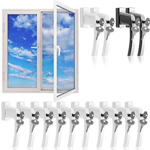 Fenstergriffe abschließbar 10x aus Aluminium weiß inkl. Schlüssel - Fenstersicherheitsgriff abschließbarer Fenstergriff Kindersicherung【Gleiche Schlüssel】