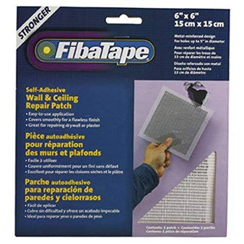 FibaTape 6 inch x 6 inch Self Adhesive Perforated Aluminum Wall and Ceiling Repair Patch