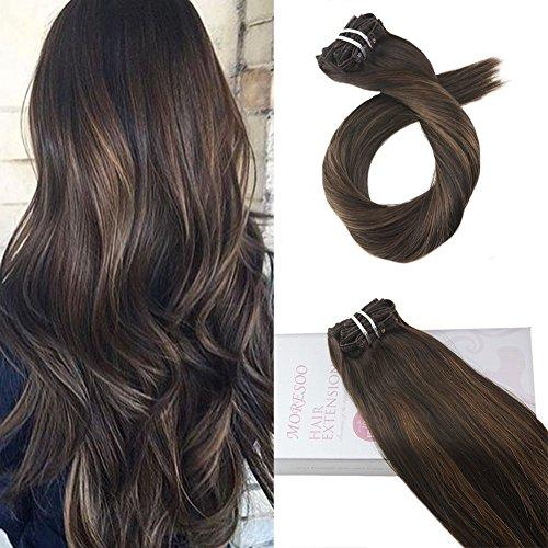 Moresoo 20 Zoll/50cm Balayage Farben Clip in Hair Extensions Human Hair Echthaar 7 Tressen Haarfarbe Ombre Schwarz #2 Darkest Brown to #6 Medium Brown Glatt Remy Echthaar Haarverlängerung 100gramm