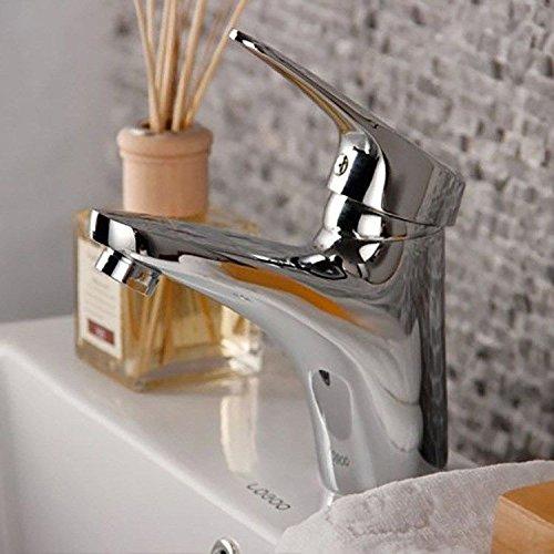 QIMEIM - Grifo mezclador para lavabo, lavabo, latón y agua fría