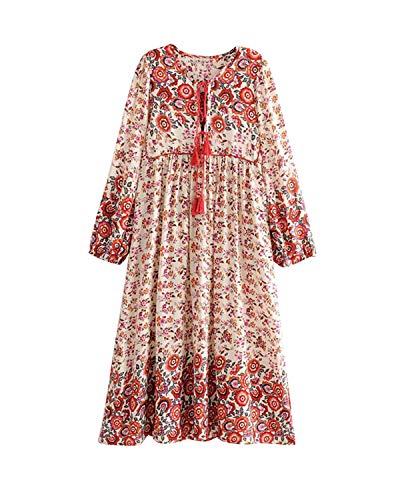MINTLIMIT Damen Langarm Kleider Blumendruck Retro Baumwolle V-Ausschnitt Quaste Casual Bohemian Boho Vintage Midi-Kleid Orange#2774 S