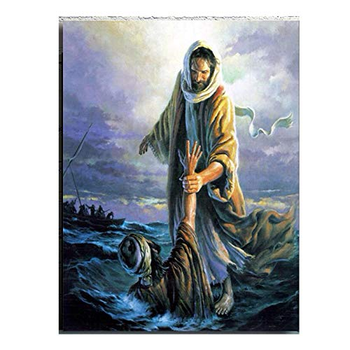 KWGQM Jesus Walking On The Water Abstract Art Canvas Poster God Jesus Vintage Oil Painting Print Minimalist Home Decoration Wall Picture 50x70cm No Frame