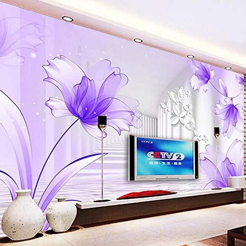 Vliesbehang, 3D, zonder naden, eenvoudig fotobehang, grote 3D lelie, purper, modern, minimalistisch, woonkamer, sofa, TV, canvas, achtergrond, vliesbehang, wandbehang 430*300