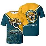 Xiaolimou Homme T-Shirt NFL en Jersey De Jacksonville Jaguars Uniforme De Rugby Confortable T-Shirt Sport À Manches Courtes Et Col en V, Confortable Et Respirant, Lavable en Machine,XL