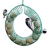 Hanging Peanut Wreath Bird Feeder, Windproof Rainproof Fat Suet Ball Holder Black Round Metal Hanging Style Bird Feeder Large Food Feeder