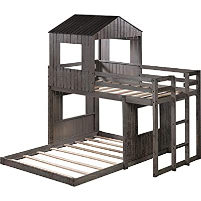 Wooden Twin Over Full Bunk Bed, Loft Bed with P...