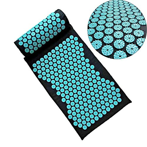 Wellness Therapy Massager Cushion Acupressure Mat Set,Relieve Back Relieve Body Pain Spike Mat Acupuncture Massage Mat for Muscle Relaxation & Tension with Pillow