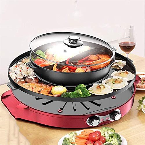 ZFFSC Grill Tragbarer elektrischer Grill, Abnehmbarer heißer Topf mit Grill, rauchloser koreanischer Grill Hotpot mit Grill Combo Pan Non-Stick Grill (Color : Splitpot)