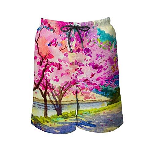 Pantalon de plage pour homme Rose Rouge Couleur de la cerise de l'Himalaya sauvage Hommes Maillots de bain Couleur Short de plage, y compris 5 tailles. - Blanc - Large