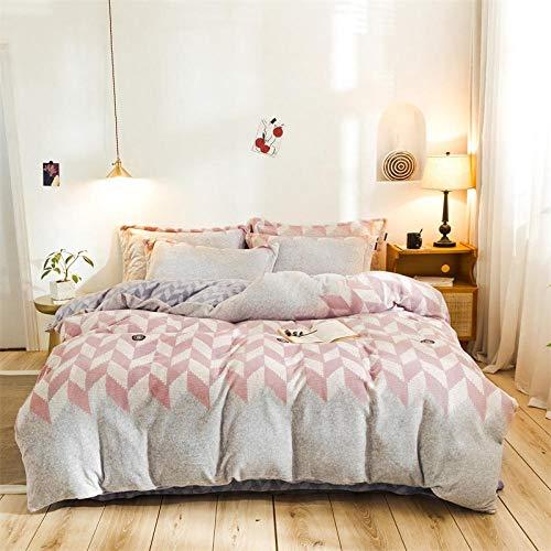 geek cook Bedding 4 piece bed sheet set,Milk velvet four-piece flannel warm flannel baby velvet-Ling (red bean paste)_2.0m bed
