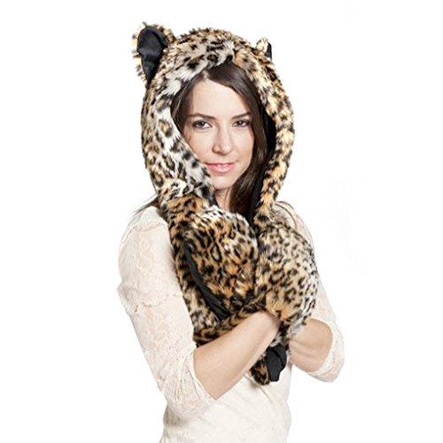 Greenery 3 in 1 Cartoon Full Animal Winter Warm Soft Faux Rabbit Fur Hoodie Hat Long Scarf Fluffy Furry Pocket Gloves Hood Cap Spirit Paws Ears Toy Set, Christmas Party Cosplay Costume Keepsake Gift Party Hat, Leopard, Length: 100cm