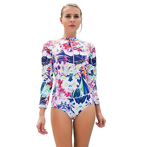 Badeanzug Foclassy, für Damen, Einteiler, langärmlig, modisch, floraler Druck, Plus Size, Reißverschluss vorne, Brustpolster - 10122, weiß, XXL / UK 12-14