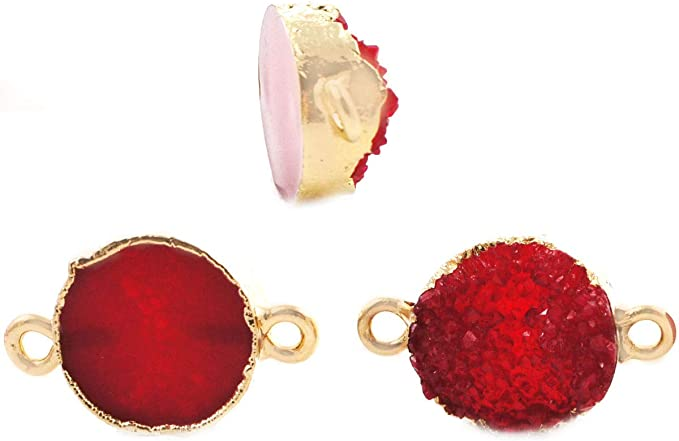 1 Pair 72x37mm Blue Solar Quartz Earrings Findings  Druzy Gemstone Pendant  DIY Jewelry Making Supply  Jewelry Component  Findings RJ04