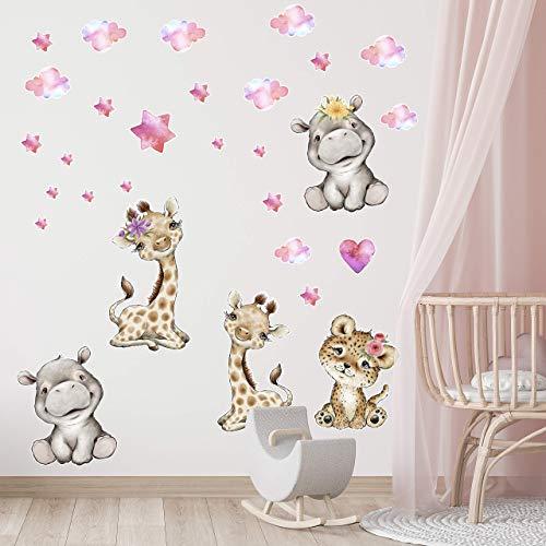 Wandtattoo Kinderzimmer Aufkleberset - Wandaufkleber bunt selbstklebend – Wunderschönes, selbstklebendes, großes Set mit afrikanischen Tieren - 130x30cm – Wandsticker Mädchenzimmer