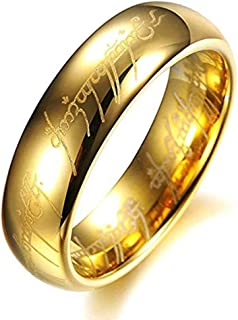 AMSENC The One Ring Lord The Rings Style Tungsten Ring Gold Color Lord Rings Laser Etched
