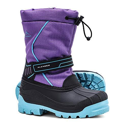 ALEADER Girls Winter Waterproof Boots, Kids Warm Cold Weather Cute Ankle Snow Boots Purple 1 M US Little Kid