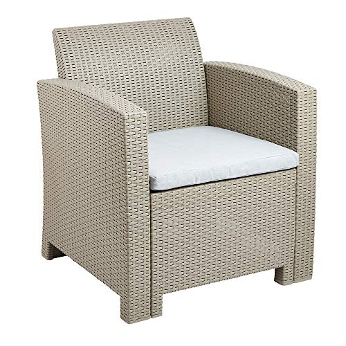 Grey Effect Rattan Armchair Durable Weatherproof Garden Furniture with Padded Cushion for Outdoor Seating on Patios, Terraces and Decking - UV and Fade Resistant, Easy Assembly