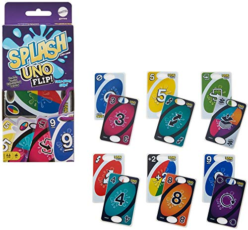 Mattel Games Uno Flip Splash Matching Card Game Featuring 112 Water Resistant 2-Sided Cards, Game Night, Gift Ages 7 Years & Older