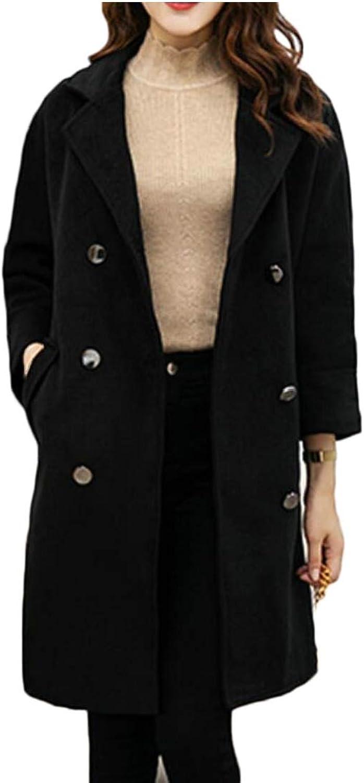 Esast Women DoubleBreasted Slim Solid WoolBlend Winter Pea Coats Jackets