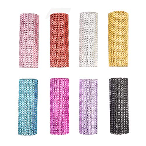 Euvoym 8 Yards 24 Rows Acrylic Rhinestone Diamond Ribbon Mixed Colored Rhinestone Diamond Cake Ribbon Banding Rhinestone Mesh Ribbon for Home Party Decoration