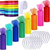 Supla 8 Colors Rainbow Tulle Rolls Tulle Netting Fabric Spool in 6' Wide 25 Yard/roll and 8 Colors Satin Roll Satin Ribbons in 2/5 Wide 25 Yard/roll and 12 Plain No Teeth Plastic Headbands 1' Craft