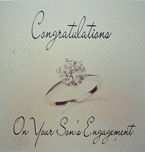 witte katoenen kaarten Gefeliciteerd met je zoon, Handmade Engagement Card, Code WS1