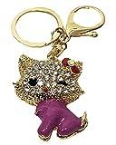Porte-clés en forme de chat - Avec strass - Pour voiture, sac à main -...