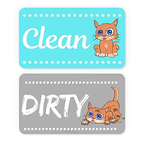 ENVIX Dishwasher Magnet Clean Dirty Sign Double Sided Magnet Flip with Magnetic Plate Kitchen Dish Washer Reversible Indicator Aqua Cat