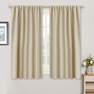 RYB HOME Window Curtain Panels - Living Room Decoration Room Darkening Polyester Thermal Insulated Drapes Privacy Protect for Bedroom Kitchen Entryway, W 42 inch x L 45 inch, Biscotti Beige, 2 Pcs