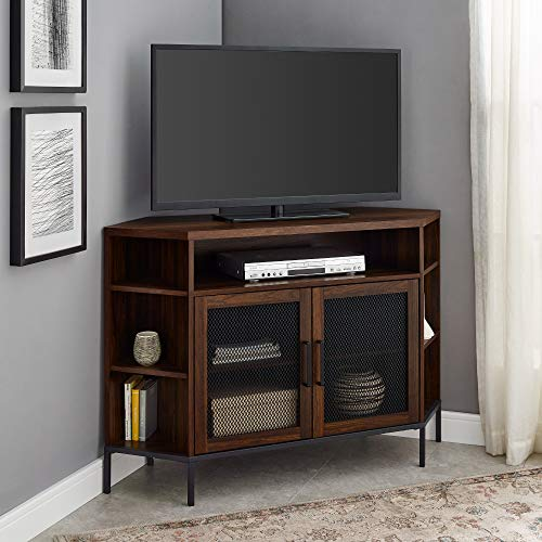 """Walker Edison Furniture Company Modern Metal Mesh and Wood Corner Universal Stand with Open Shelves Cabinet Doors TV's up to 55"""" Flat Screen Living Room Storage Entertainment Center, Dark Walnut"""