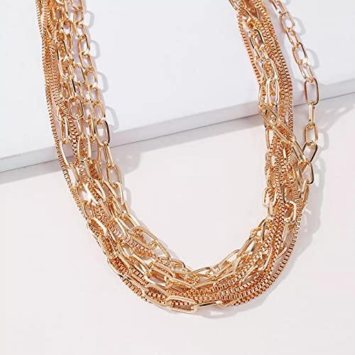 collar Colgante Collares de cadena de cuerda trenzada de color dorado, collares de cadenas finas anchas y gruesas para mujer, collar de gargantilla minimalista para hombres, joyería Insta regalo