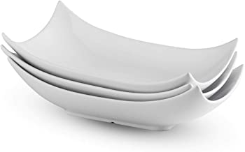 Porcelain Serving Platter White Serving Tray Decorative Centerpiece Deep Serving Bowl 12-Inch Set of 3
