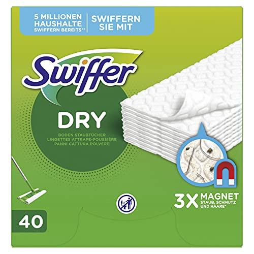 Swiffer Bodenwischer Trockene Bodentücher (80 Tücher) Wischer ideal gegen Staub, Tierhaare & Allergene