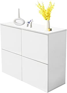 TOPINCN Modern White MDF Sideboard High Gloss Multipurpose 4 Door Display Storage Unit Entryway Furniture