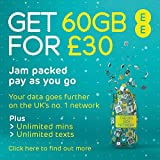EE 60GB Data Sim includes £30 top up, 60GB Data, Unlimited minutes