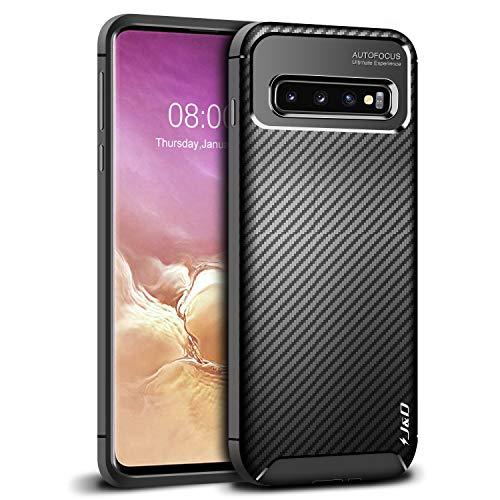 J&D Kompatibel für Galaxy S10 Hülle, [Carbon Fiber Pattern] [Leichtgewichtig] [Fallschutz] Stoßfest TPU Slim und Anti-Kratzer Weich Hülle für Samsung Galaxy S10 - [Nicht für S10 Plus/S10 E/S10 5G]