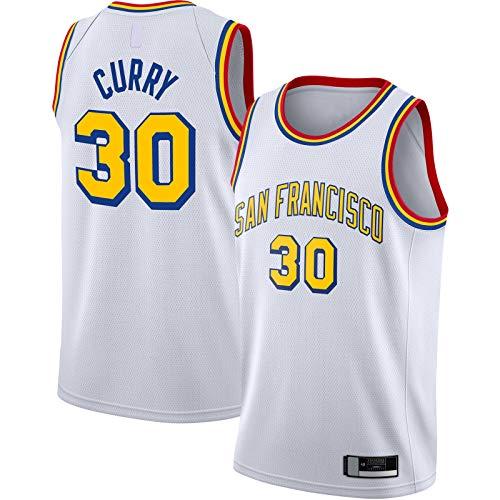 OYFFL Stephen Sportswear Curry - Jersey de baloncesto para hombre, diseño de guerreros con bordado estatal #30 de madera dura, acabado clásico Swingman Jersey blanco - Edición clásica-M