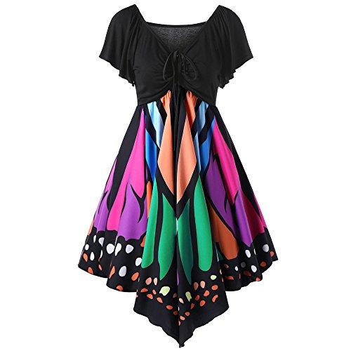 FRAUIT Hohe Taille Schmetterlingsflügel Kleid Damen Kurzarm Butterfly Tube Kleid Strandkleider Partykleid Abendkleid Minikleid Schmetterling Druck Asymmetrie Riemen Kleid Bluse