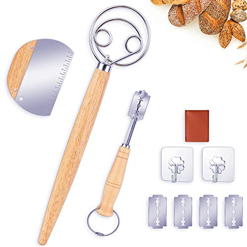 Danish Dough Whisk Bread Mixer Set, Hook Dutch Whisk and Dough Scraper with 4 Replacement Blades for Bread Dough, Pastry or Pizza Dough - Perfect for Baking