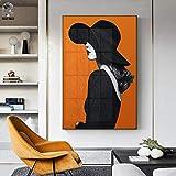 RTCKF Art Illustration Fleur Abstraite dans Un Vase, Peinture à l'huile sur Toile, Impression de minimalisme Moderne, Affiche d'art orchidée Murale, décoration Murale (sans Cadre) A4 50x70CM