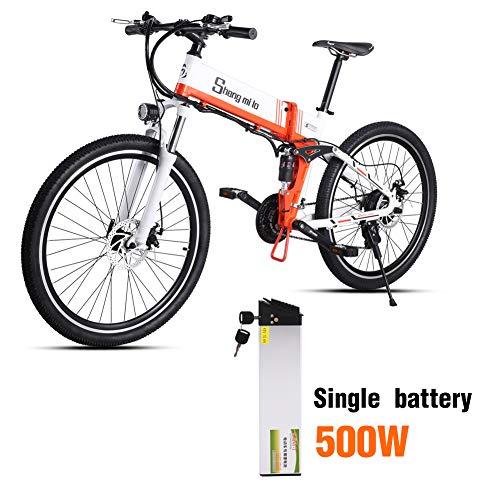 Shengmilo E-Bike Elektrische fiets, 26 inch, inklapbaar, elektrische fiets, ebike voor dames en heren, 250/350W/500W, Moto 48V lithium-batterij, Shimano 21 versnellingen, dubbele hydraulische schijfrem